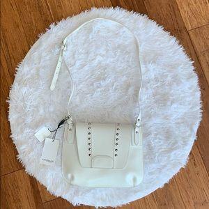 White Italian leather studded bag